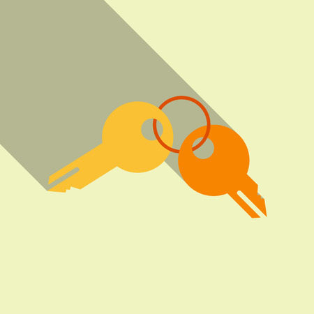 Illustration of a set of two keys on a key ring