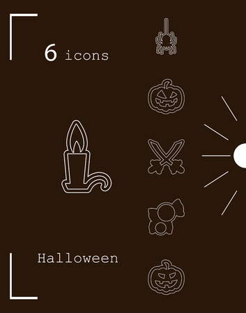 Collection of 6 halloween icons. Vector illustration in thin line style
