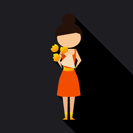 Vector illustration cartoon mother with present. Isolated white background. Flat design. The woman with flowers. 8 march