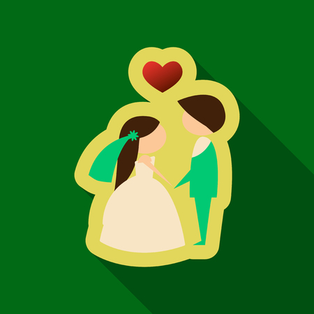 Just married couple with ribbon Illustration