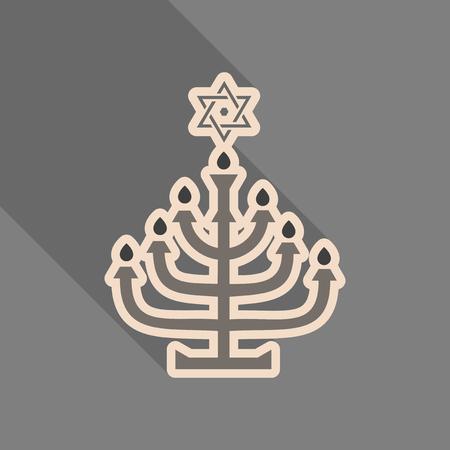 Menorah 9 candle candelabrum vector illustration. Holiday of Hanukkah element. Jewish symbol for celebration of Chanukah or Festival of Lights. Feast of Dedication lamp icon or festivity item. 일러스트