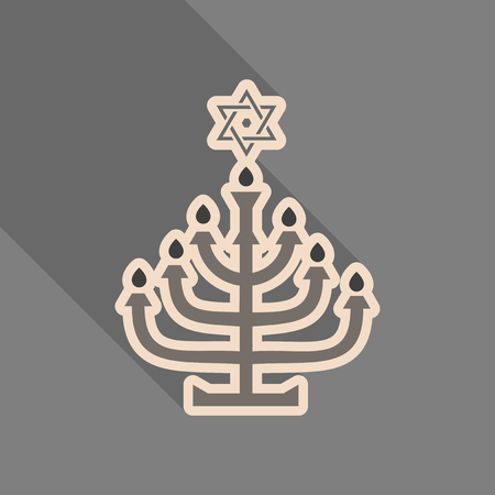 Menorah 9 candle candelabrum vector illustration. Holiday of Hanukkah element. Jewish symbol for celebration of Chanukah or Festival of Lights. Feast of Dedication lamp icon or festivity item. Çizim