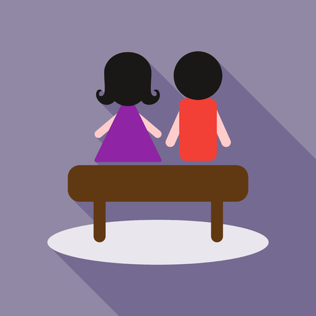 A young couple sit on the bench Illustration