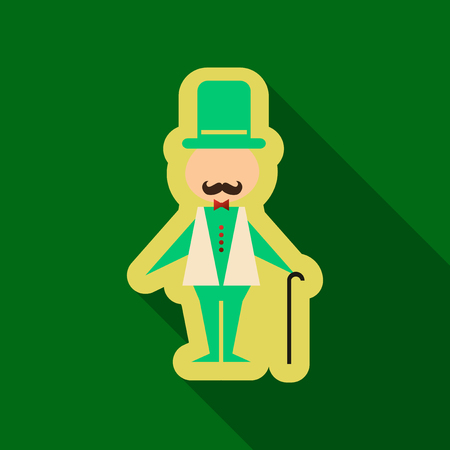 Illustration of old man walking with a cane. Illustration