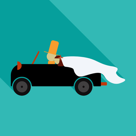 Newlywed couple is driving a vintage convertible car for their honeymoon with just married sign and cans attached. Flat style vector illustration