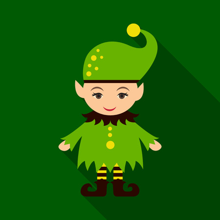 Flat icon with shadow Christmas Elf