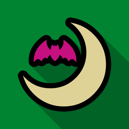 Flat icon with shadow moon and bat Illustration
