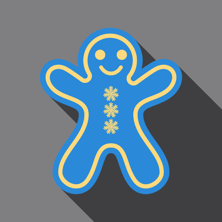 Flat Icon with shadow Gingerbread man cookie