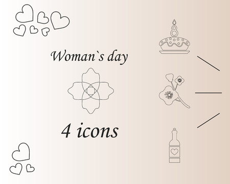 I love you womens doodle 4 icon in set of womens day