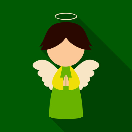 Flat icon with shadow christmas angel