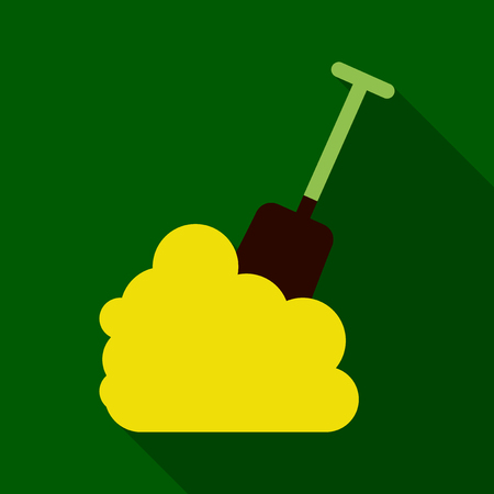 Flat Icon with shadow snow and shovel Illustration