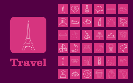 Travel Line Icons for Web and Mobile. Thin line icons. on purple Illustration