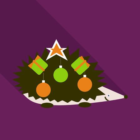 Little happy hedgehog icon with small spruce and Christmas decorations on neck. Vector illustration with wild barbed animal on white background