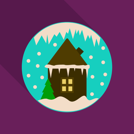 Cartoon Winter house Vector image christmas houses covered with snow. In circle Illustration
