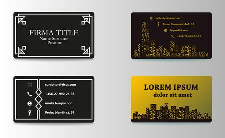 Set of modern business card print templates. Personal visiting card with company logo. trending design. Vector illustration
