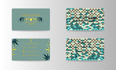 Set of modern business card print templates. Personal visiting card with company. trending design. Vector illustration Çizim