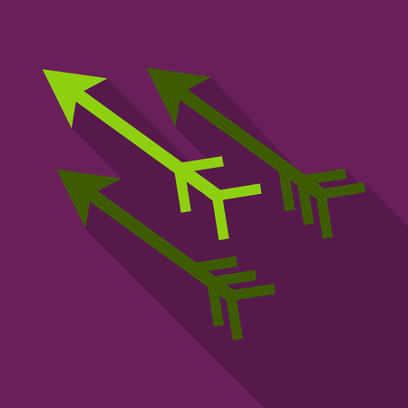 Three-way direction arrow icon in purple backdrop. Stock Illustratie