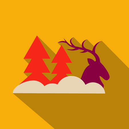 Deer in forest with snow in the winter season;vector paper art style.