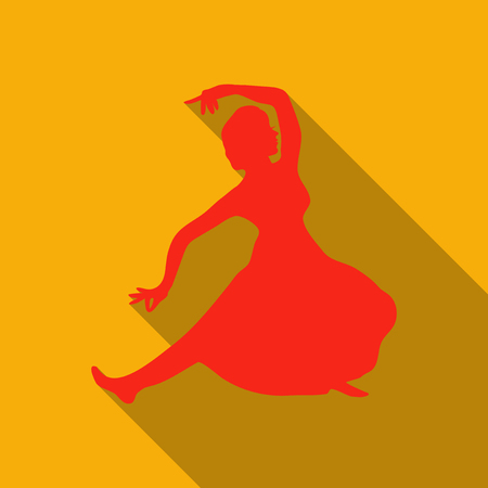 Illustration of Caucasian woman dancing in the national costumes in orange backdrop Illustration
