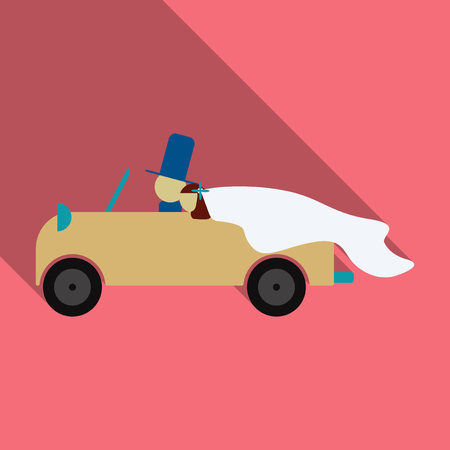 Newlywed couple is driving a vintage convertible car for their honeymoon flat style illustration.