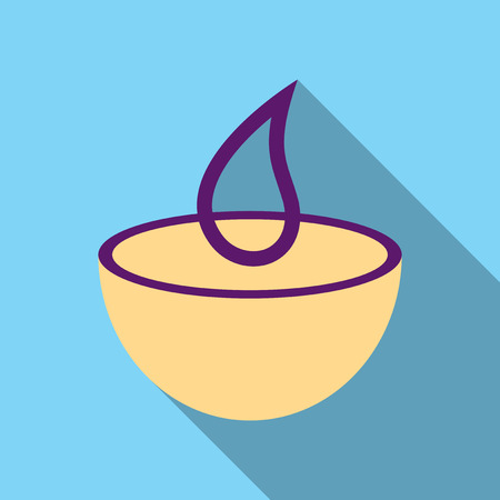 Candle in a bowl with pine branches. New Year ornament vector illustration. Illustration