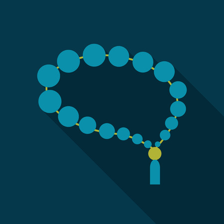 Beads. Rosary religious accessories. Vector in flat style with shadow