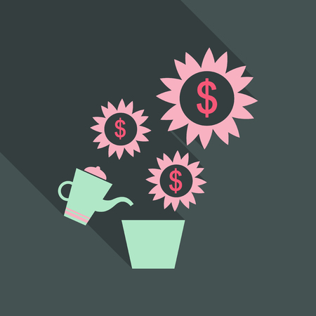 Watering money tree in flat stylewith shadow