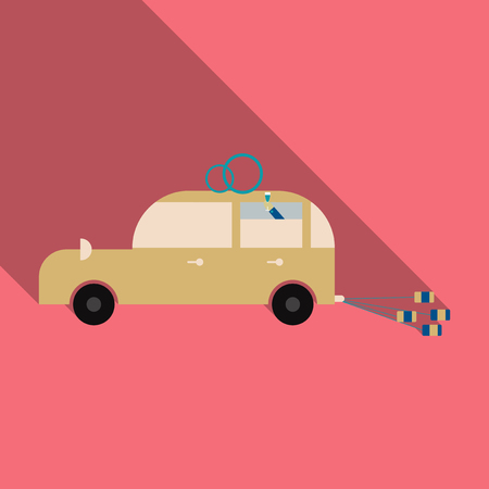 Newlywed couple is driving a vintage convertible car for their honeymoon with just married sign and cans attached. Flat style vector illustration isolated on white background.  イラスト・ベクター素材