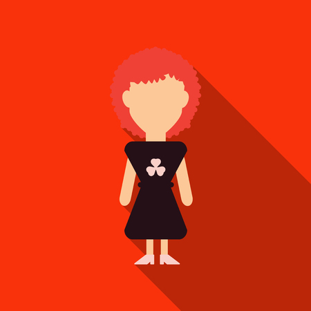 Illustration of a girl wearing a dress made with clovers.