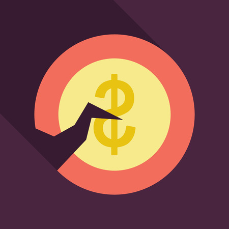 vector old coins. Cracked Coin in flat style with shadow Illustration