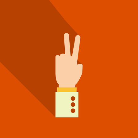 hands icon with two fingers open symbol. hand gestures with shadow. Good deal