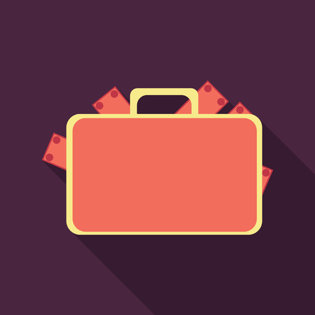 A money briefcase icon. coin and bill in flat style with shadow