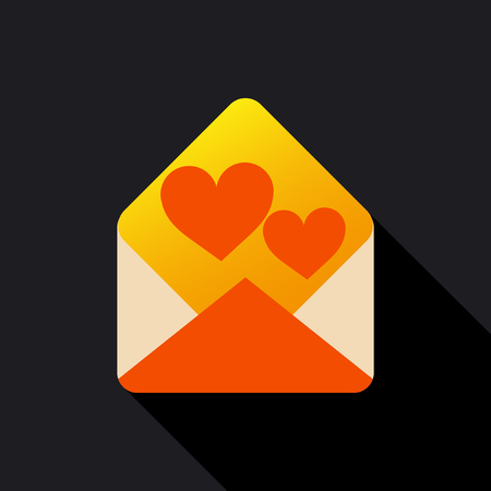 A love letter icon on black.