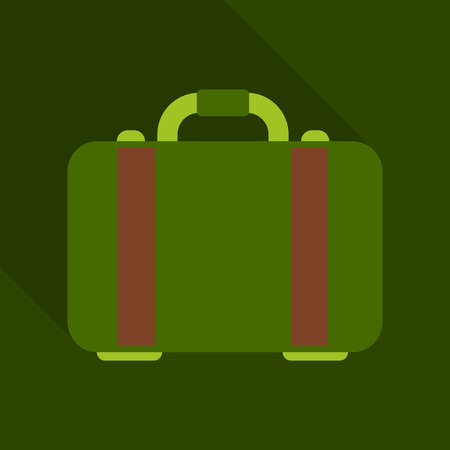 money briefcase icon. coin and bill in flat style with shadow