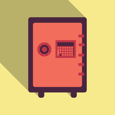 Metal bank safe vector icon in a flat style. Closed safe isolated on a colored background. Concept of the icon safe shadow at the bottom. Simple illustration of the safe. Illustration