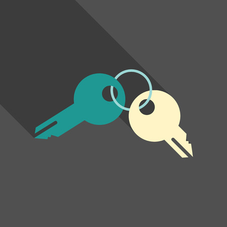 Illustration of a set of two keys on a key ring.