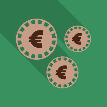Bright coins. Coin in flat style with shadow, vector illustration.