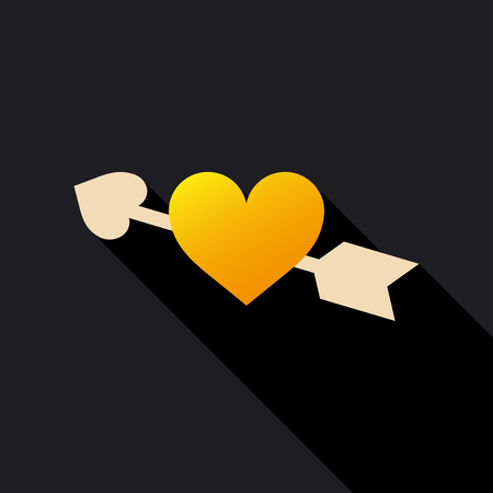 Heart with Cupids arrow icon. Illustration