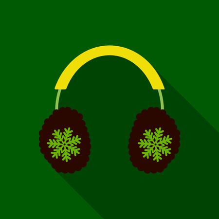 Flat icon with shadow winter headphones