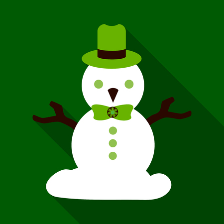 Flat Icon with shadow snowman Vector illustration.