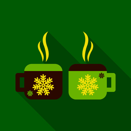 Flat Icon with shadow cups with snowflakes