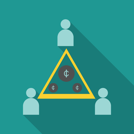 Flat isometric businessman on top of coin pyramid.