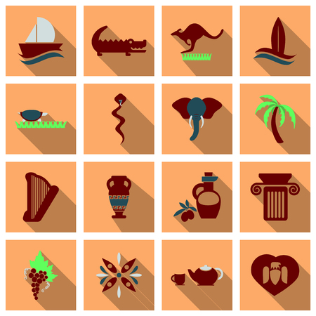 Set of images on the theme of ancient Greece.