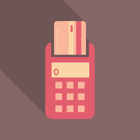 POS terminal with inserted credit card and printed reciept. Modern flat design element. EPS10 vector.