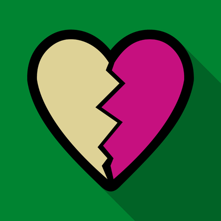 Flat icon with shadow broken heart Vector illustration. Illustration