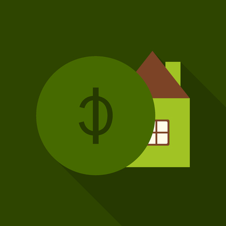 Auction house. Concept bidding on home. Gavel, house, cash, coins isolated on background. Buying, selling or foreclosure. Vector illustration flat design. The trial of the property. Illustration