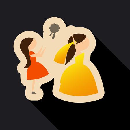 Vector of a beautiful woman in a wedding dress. Beautiful woman in a wedding dress with Bridesmaid. Drop wedding bouquet
