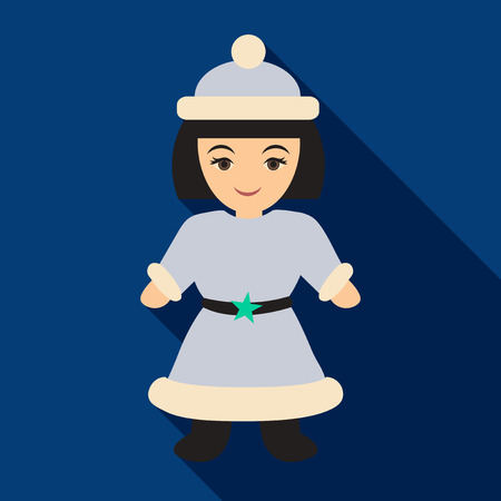 Flat icon with shadow Snow Maiden . Beautiful girl wearing long coat with white fur.  イラスト・ベクター素材