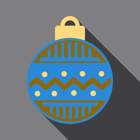 Flat Icon with shadow christmas ball 向量圖像