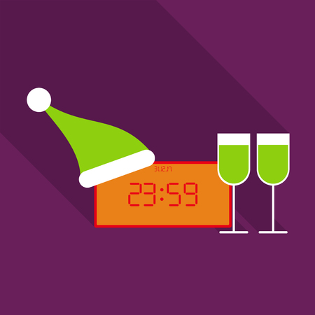Clock With New Year 2018 with Santa`s hat and twoglasses of wine Illustration
